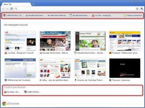 Google Chrome: Weitere Schnellzugriffe auf der Startseite