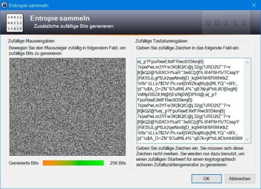 KeePass 2: Zufallsdaten für Verschlüsselung sammeln ©COMPUTER BILD