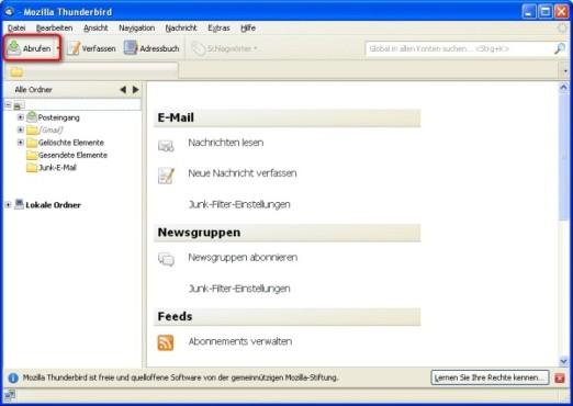 Thunderbird: E-Mails abrufen