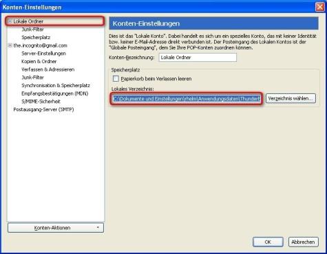 Thunderbird: Zu sichernden Ordner im Windows-Explorer �ffnen