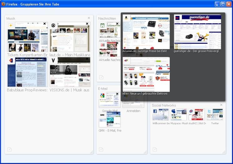 Firefox Mit Der Panorama Funktion Behalten Sie In Firefox Die