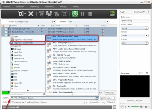 Xilisoft Video Converter Ultimate: AAC-Format wählen