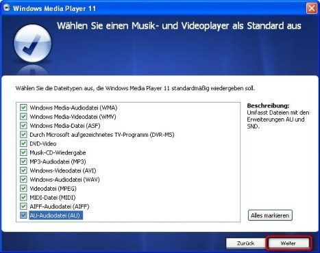 Windows Media Player: Dateiformate mit Windows Media Player verknüpfen