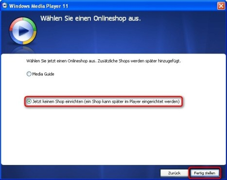 Windows Media Player: Onlineshop auswählen