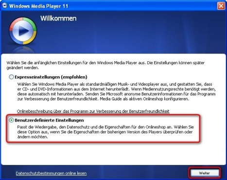 Windows Media Player: Programmeinstellungen manuell anpassen