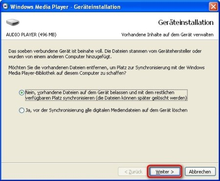 Windows Media Player: Mediendatenbank mit MP3-Player synchronisieren