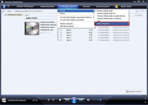 Windows Media Player: Musik-CD unkomprimiert speichern