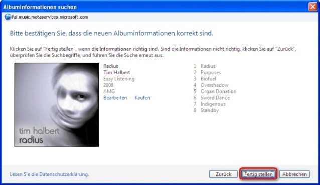 Windows Media Player: Titelinformationen übernehmen