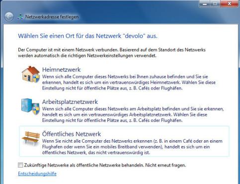 Heimnetzwerk auswählen unter Windows 7 ©COMPUTER BILD
