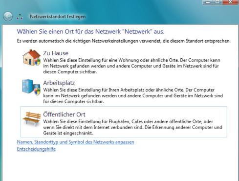 Heimnetzwerk auswählen unter Windows Vista ©COMPUTER BILD