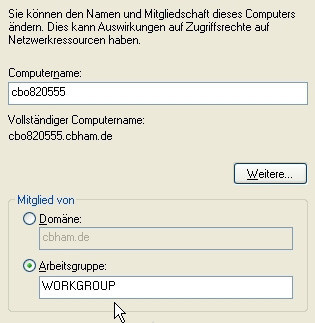 Windows XP: Arbeitsgruppe ändern ©COMPUTER BILD