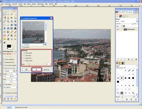 GIMP: Leinwand-Eigenschaften festlegen