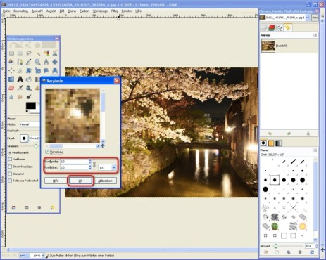 GIMP: Pixel einstellen