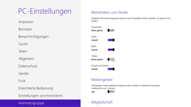 Ordnerfreigabe Windows 8 © COMPUTER BILD
