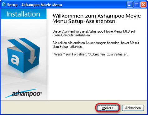 Ashampoo Movie Menu: Installation fortfahren