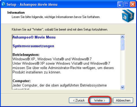 Ashampoo Movie Menu: Programminformationen lesen