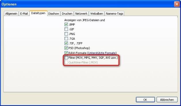 Picasa: Dateitypen festlegen