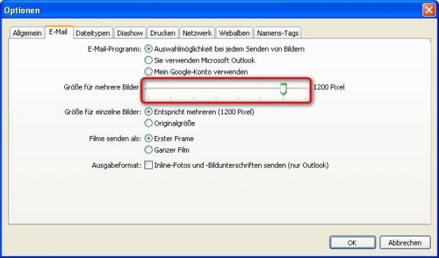 Picasa: E-Mail-Optionen anpassen