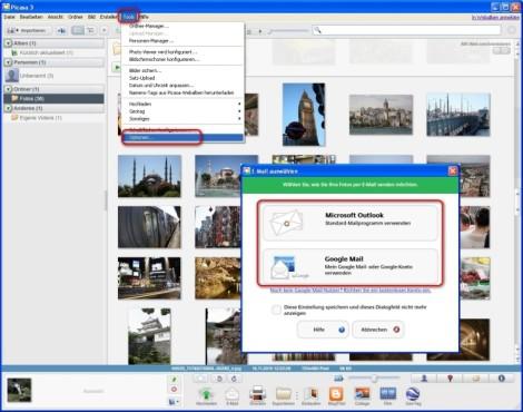Picasa: E-Mail-Programm auswählen
