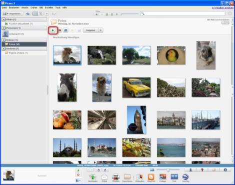 Picasa: Fotos als Diashow anzeigen