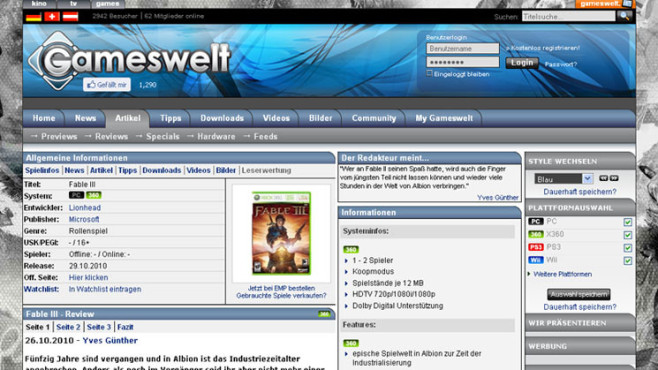 Wertungsspiegel Fable 3: Gameswelt.de © Gameswelt.de