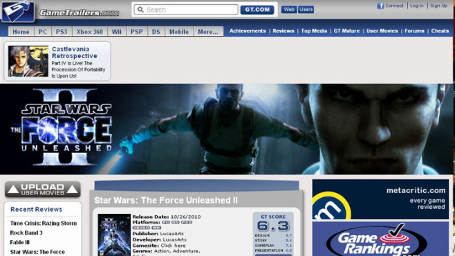 Wertungsspiegel Star Wars – The Force Unleashed 2: Gametrailers.com © Gametrailers.com