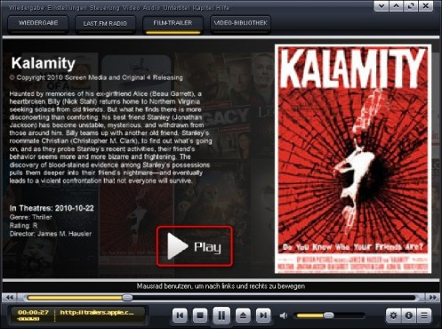 Kantaris Media Player: Filmtrailer aufrufen