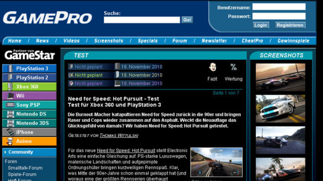 Wertungsspiegel Need for Speed � Hot Pursuit: Gamepro © Gamepro