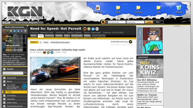 Wertungsspiegel Need for Speed � Hot Pursuit: Krawall © Krawall