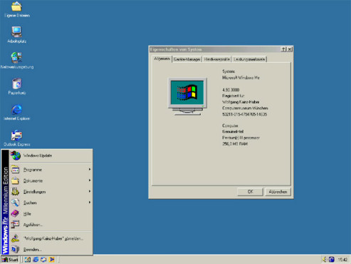 Screenshot Windows ME © Microsoft