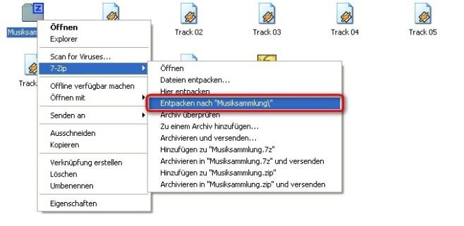 7-Zip: Archiv �ber Kontextmen� entpacken