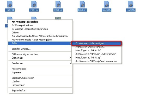 7-Zip: Dateien in Archiv komprimieren