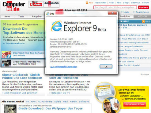 Internet Explorer 9 © Screenshot