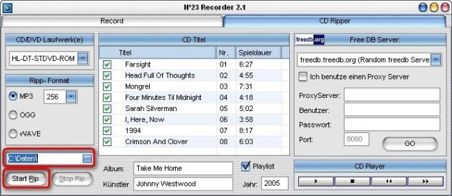 No23 Recorder: Musik-CD rippen