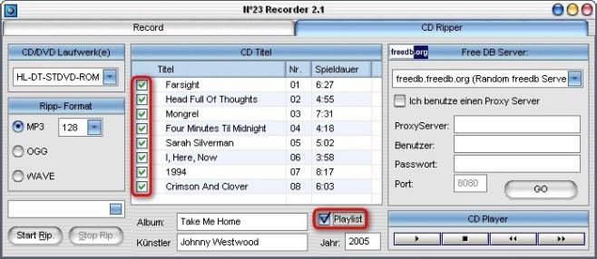 No23 Recorder: Songs zum Kopieren auswählen