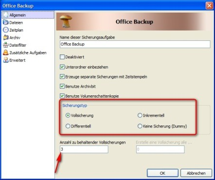 Cobian Backup: Backup-Methode bestimmen