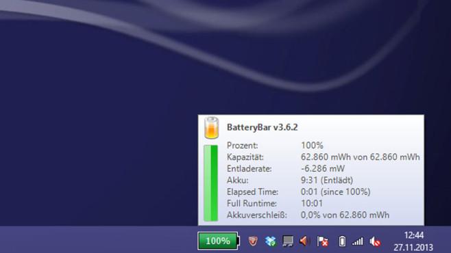 BatteryBar Free: Akku-Kapazit�t immer im Blick ©COMPUTER BILD
