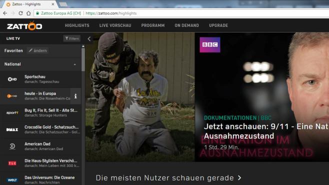 Zattoo: Fernsehen per Internet ©COMPUTER BILD