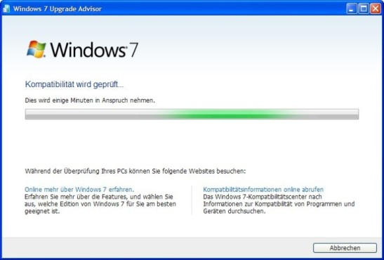Windows 7 Upgrade Advisor © COMPUTER BILD