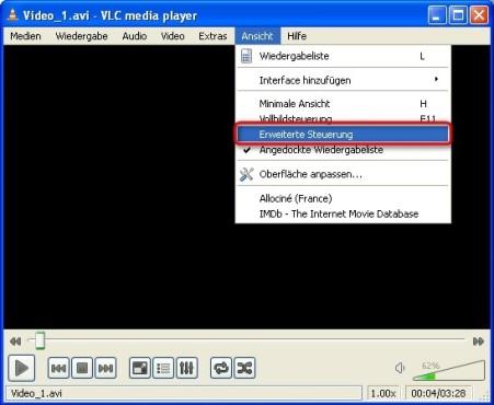 VLC Media Player: Erweiterte Steuerung einblenden
