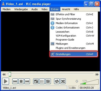 VLC Media Player: Optionen-Menü aufrufen