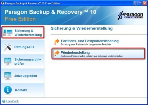 Paragon Backup & Recovery Free Edition: Restore durchführen