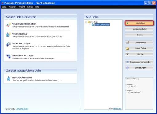 PureSync: Backup manuell starten