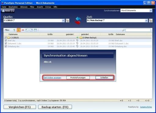 PureSync: Datensicherung durchführen