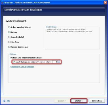 PureSync: Mehrere Backup-Fassungen vorhalten