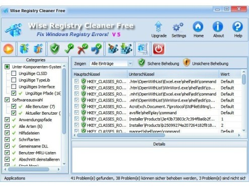Wise Registry Cleaner Free © Screenshot