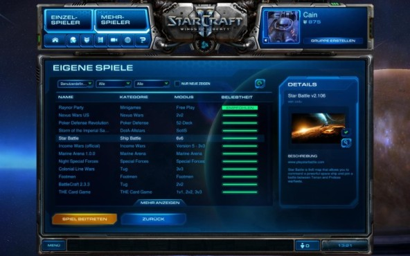 Starcraft 2 Star Battle: Men� © Blizzard