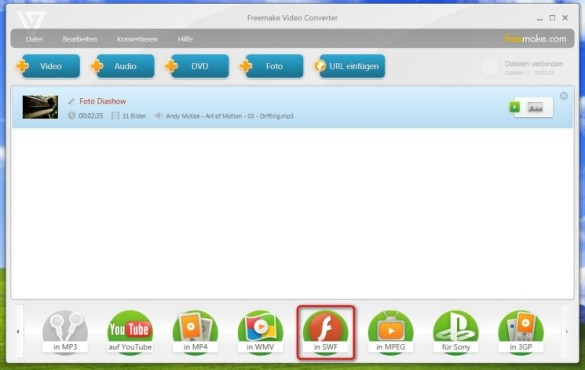Freemake Video Converter: Diashow exportieren