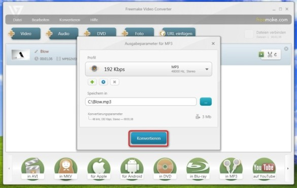 Freemake Video Converter: Tonspur aus Video als MP3 speichern