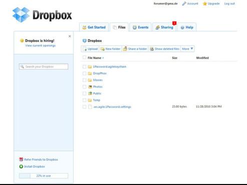 Dropbox – Ordner teilen